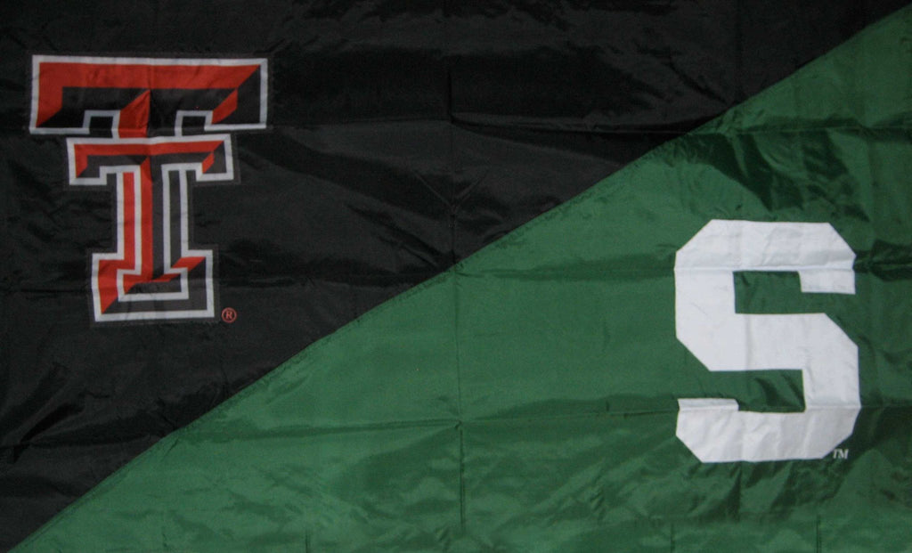 Texas Tech & Michigan State House Divided Flag