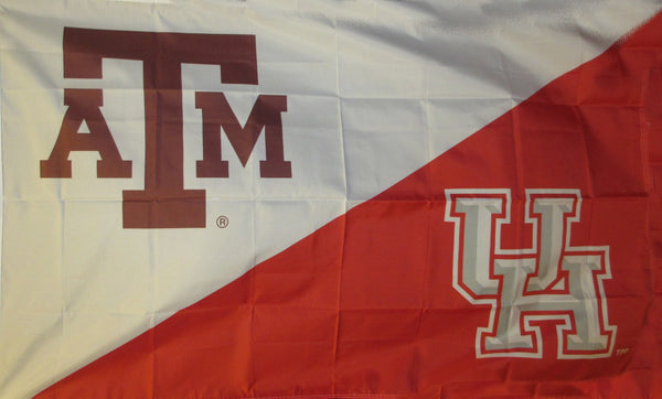Texas A&M & Houston House Divided Flag