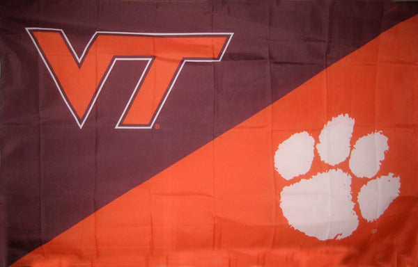 Virginia Tech & Clemson House Divided Flag