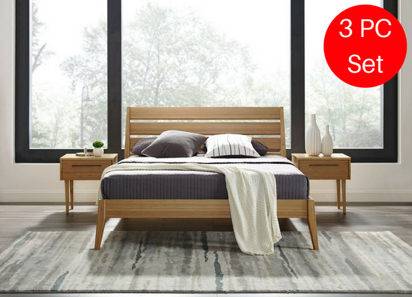3pc Greenington Sienna Modern Bamboo Queen Bedroom Set (Includes: 1 Queen Bed & 2 Nightstands) Beds - bamboomod