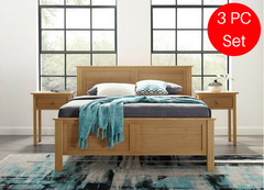 3pc Hosta Greenington Modern Queen Bedroom Set (Includes: 1 Queen Bed & 2 Nightstands) Beds - bamboomod