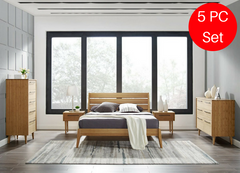 5pc Greenington Sienna Modern Bamboo Queen Bedroom Set (Includes: 1 Queen Bed, 2 Nightstands, 2 Dressers) Beds - bamboomod