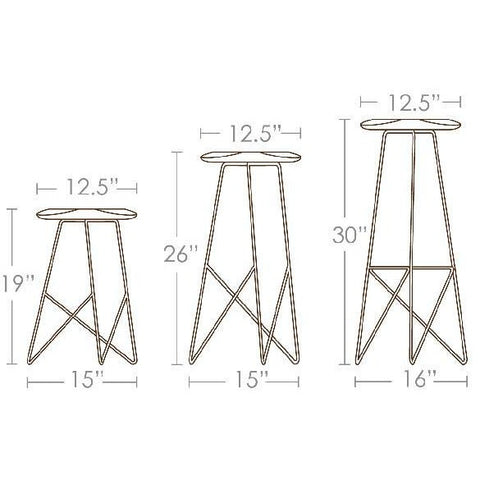 Brave Space Design Modern Bamboo Acute High Stool Bar Stools - bamboomod
