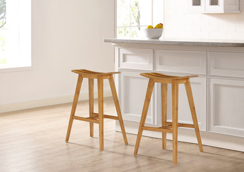 "Greenington Tigris 26"" Counter Height Stool, Caramelized With Exotic Tiger Inlay, (Set of 2) - Stool - Bamboo Mod - 11"