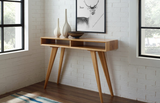 Greenington Azara Tiger Console Table With Tiger Exotic Inlay, Caramelized Side Tables - bamboomod