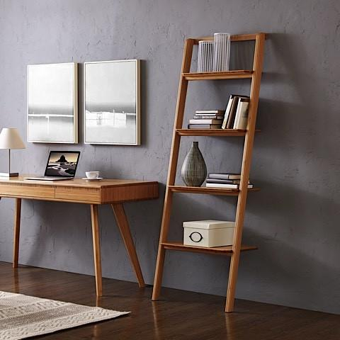 "Greenington Modern Bamboo Currant 70"" Leaning Ladder Bookshelf Shelving - bamboomod"