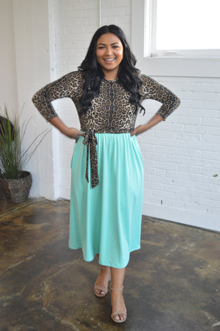 Leopard Mint Midi Dress