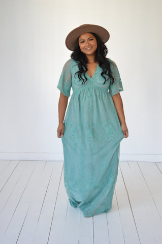 Elegant Lace Dress: Seafoam