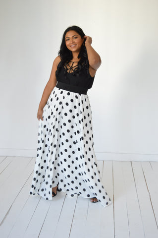 Long Chiffon Polka Dot Maxi