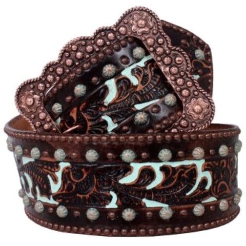 Brown Tooled Leather Belt