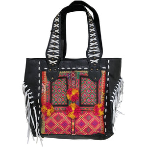 Black Leather & Vintage Fabric Tote