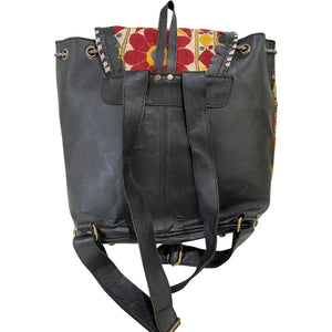 Black Leather Vintage Fabric Backpack