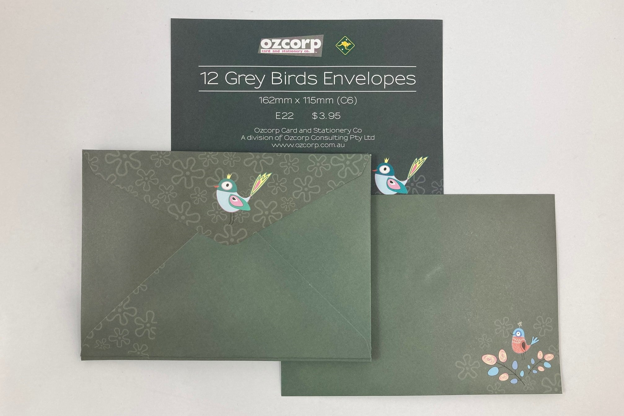 Envelope Set of 12 'Grey Birds'