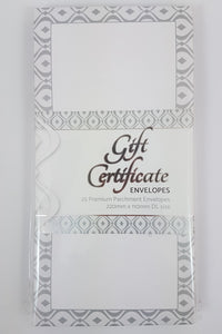 Envelope Pack for Gift Certificates