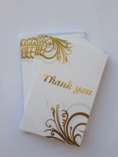 Thank You Card Set Gold Swirl