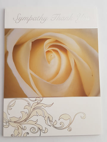 Sympathy Thank You Pad ' Cream Rose'