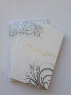Thank You Card Set Silver Swirl