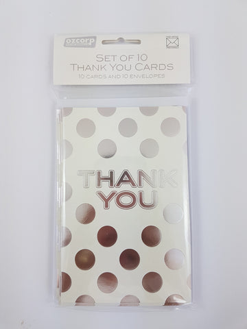 Thank You Card Set Silver Dot