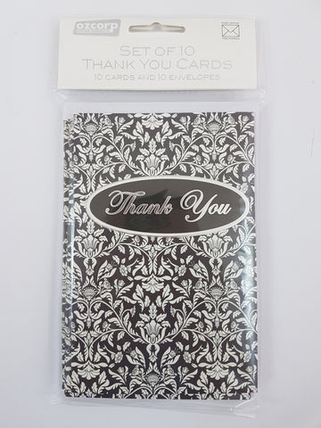 Thank You Card Set Elegant Black