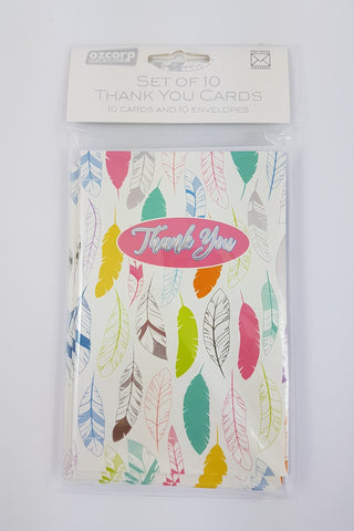 Thank You Card Set Feathers