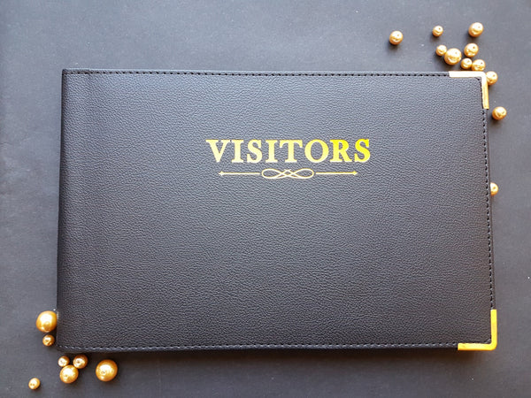 Black Visitors Book with Gold Corners