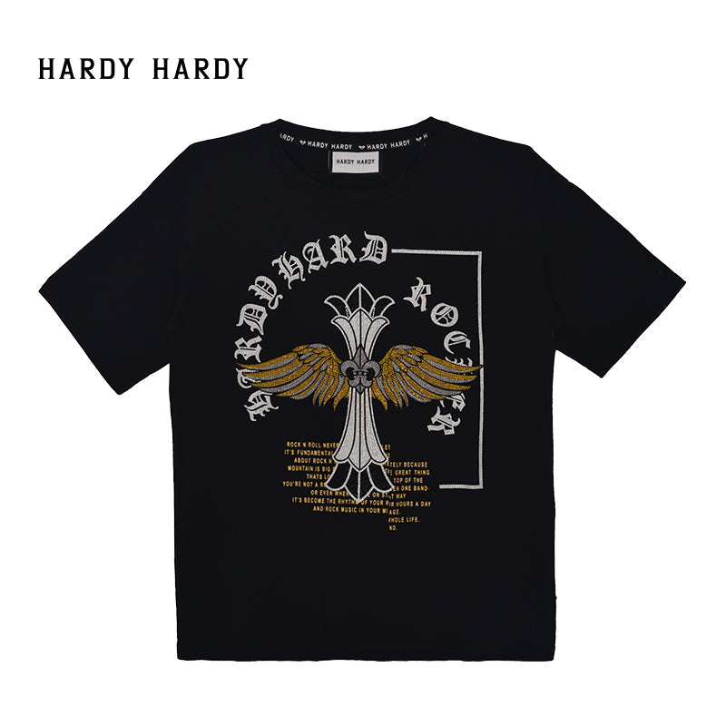 HARDY HARDY Cross & Wings Rocker Unisex Oversized Tee