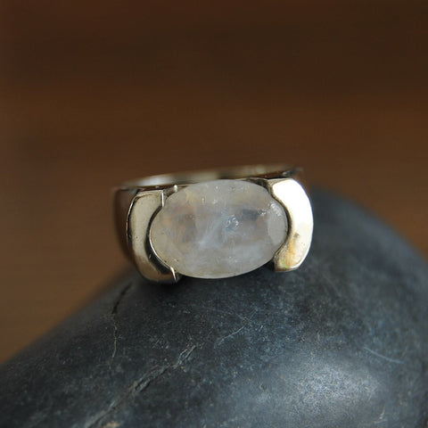 Shira | Moonstone Encrypted Rings, Kabbalah Silver Jewelry, Stone of Love Ring