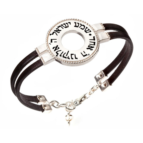Kabbalah Prayer Bracelet, Shema Israel Bracelet, Bible Silver Bracelet, Strengthening Faith Bracelet, Silver and Leather Strip Bracelet, Hebrew Inscribed Bracelet, Kabbalah Inspirational Bracelet, Judaism Faith Unisex Bracelet, Spirit Of The Lord Bracelet