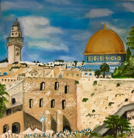 Jerusalem Art Painting, Golden City Painting, Holy City View, Israel Views, Jerusalem Views, Oil On Canvas Pinting, Israel Art, Jewish Faith Painting, Israel Views Painting, Israel Capital Painting, Jewish Spirit Painting, Israel Artists Paintings