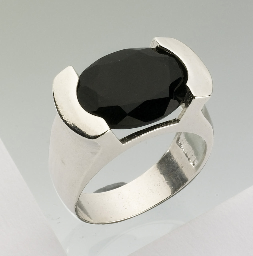 Black Tourmaline Ring, Judaica, Jewish Jewelry - Baara