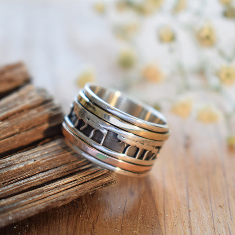 Biblle Blessing Ring, Hebrew Inscribed Ring, Rose & Yellow Gold Ring, Handmade Spinner Ring, Judaica Statement Ring, Personalized Hebrew Ring, Strengthens Love Ring, Lord Promise Ring, Strengs Love Ring, Judaism Faith Ring, Unisex Biblical Ring