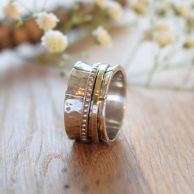 Hephziba | Gold & Silver Spinner Ring, Statement Hammered Ring, Bohemian Wide Band