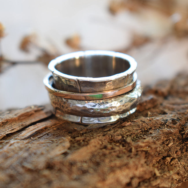 Hammered Spinner Band, Personalized Name Ring - Galit