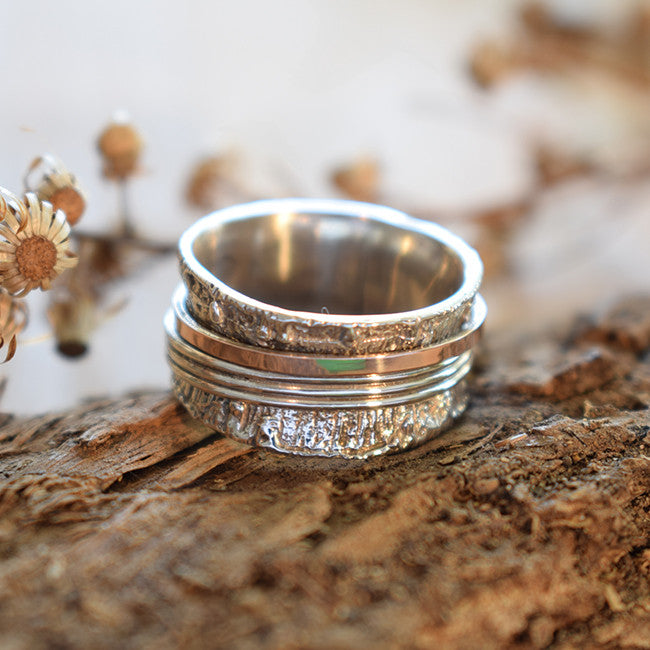 Nissan | Wedding Midi Band, Art Deco Spinner Ring, Rose Gold Band, Engagemet Hammered Band