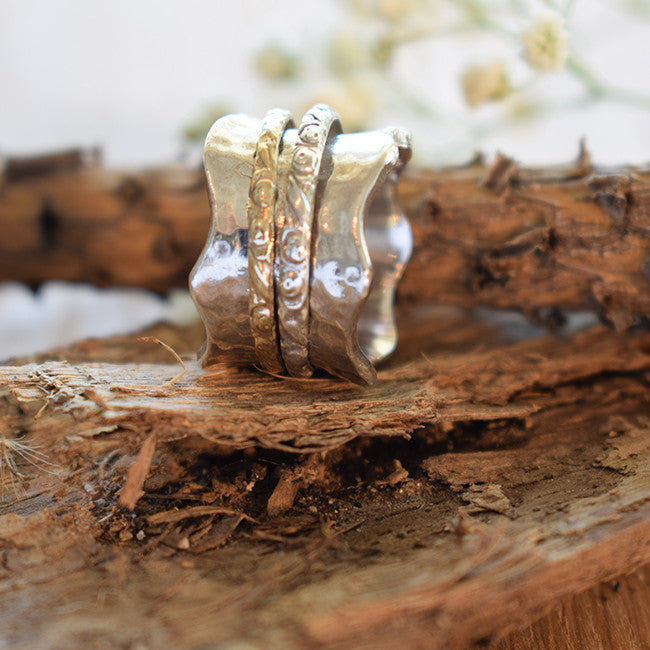 Hammered Carved Wedding Band, Spinner Ring - Sivan