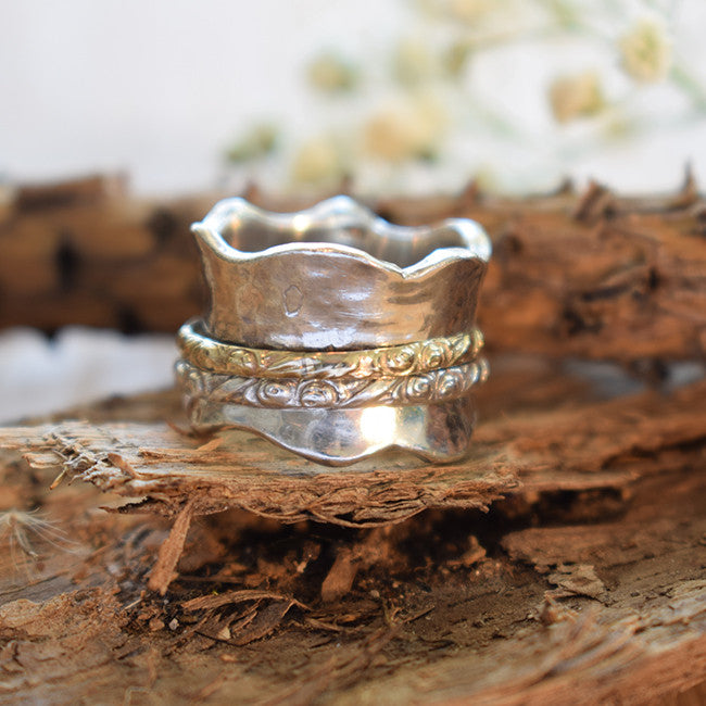 Hammered Carved Wedding Band - Sivan