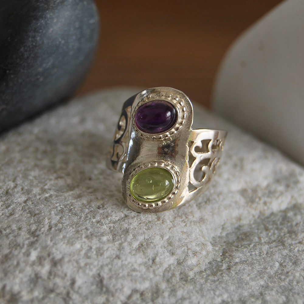 Rebekah | Cameo Gem Ring, Amethyst Wedding Ring, Kabbala Encrypted Ring