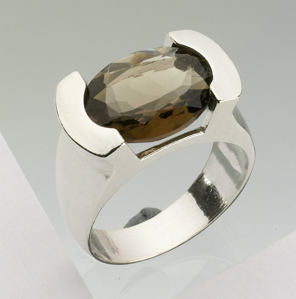 Smoky Quartz Ring, Judaica, Jewish Jewelry - Dan