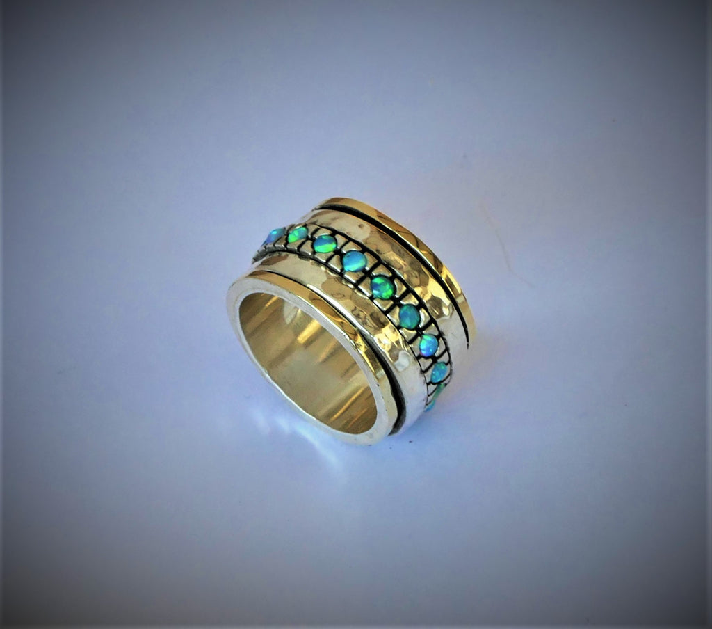 Opal Engagement fidget Raw Ring - wife