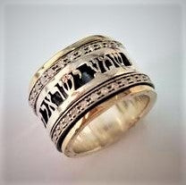 Abiel | Bible Verse Ring, Hebrew Inscribed Ring, Zirconia Raw Ring, Personalized Spinner Band