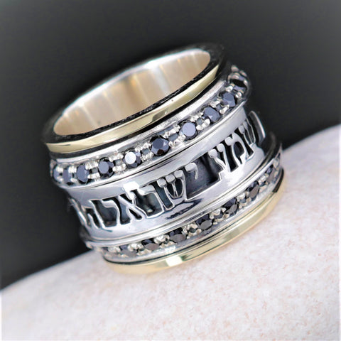 Shema Israel Ring, Hebrew Inscribed Ring, Judaica Statement Ring, Kabbalah Prayer Ring, Gold & Silver Spin Ring, jewish Faith Ring, Zircon Onyx Gem, December Birthstone Ring, Handcraft Ring, Hebrew Personalized Ring, judaism Ring, Strengthening Faith Ring