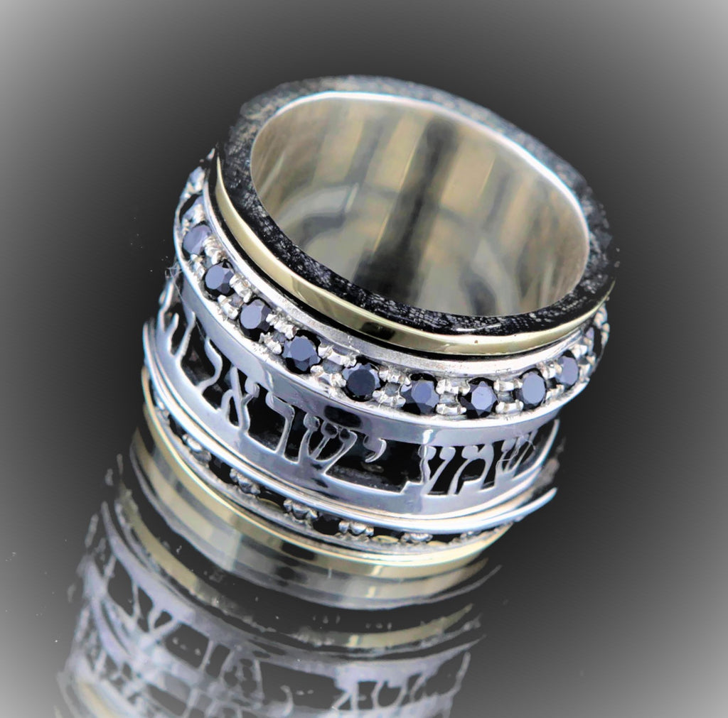 Ava | December Birthstone Ring, Men Wedding Gold and Silver Wedding Band, Bible Verse Ring