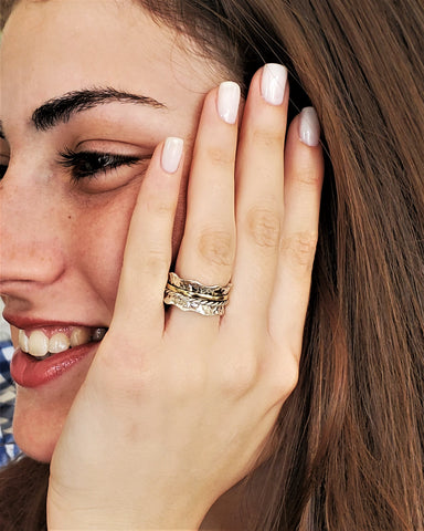 Adio | Wave Spinner Ring, Cluster Infinity Ring, Hammered Thumb Ring