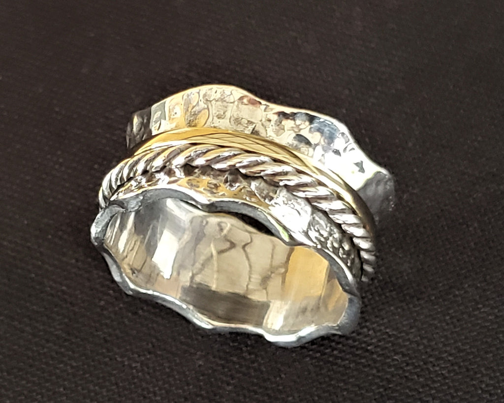 Wave Spinner Ring, Cluster Infinity Ring - Adio