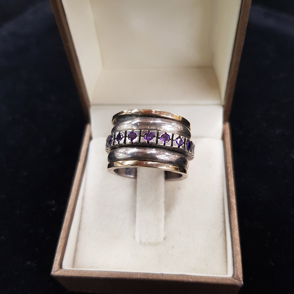 Amethyst Decorated Ring, January Birthstone Ring, Personalized Purple Ring, Handmade Designers Ring, Gold & Silver Spinner ring, Statement Fashion Ring, Ornament Multi Stone Ring, Bohemian Raw Stones, Wedding Gift For Her, Graduation Gift For Him