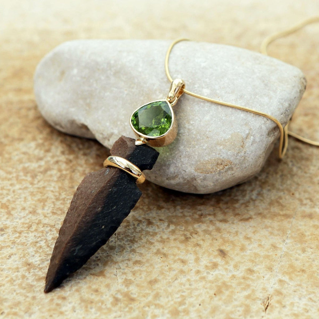 ALLIGATOR EYE - Gold & Flint Arrowhead Necklace,Green Tourmaline Gem Stone Necklace, 14k Gold, Handcrafted Flintstone Arrowhead Pendant