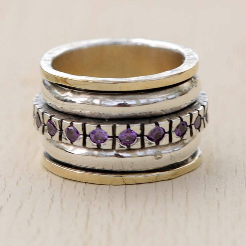 Amethyst Gold And Sterling Silver Ring, Statement Ring,Amethyst Ring ,Gift For Her ,Wedding Bands, Statement Ring ,Anniversary Ring