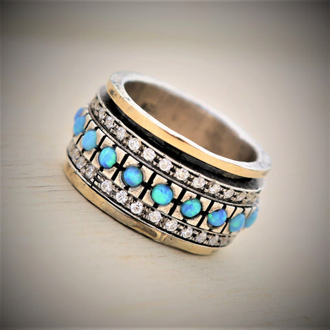 Anath | Statement Wedding Ring, Gold And Silver Spin Ring, Opal Art Deco Band, Zircon Raw Ring