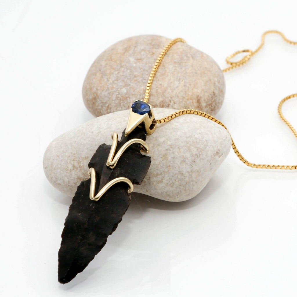 Arrowhead Necklace - SAUL SHIELD - 14K Gold & Oval Sapphire Stone Flint Stone Arrowhead Necklace