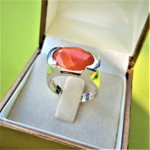 Basemeth | Kabbalah Encrypted Oval Ring, Solitaire Carnelian Ring, Men Wedding Name Ring